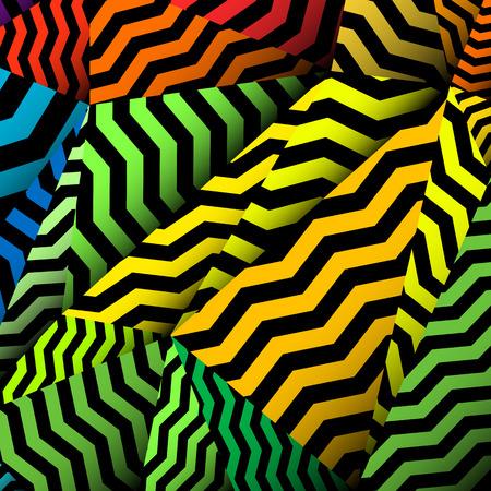 Chevron background, rippled rainbow and black pattern.