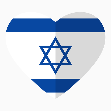 Flag Of Israel In The Shape Of Heart Flat Style Symbol Of Love