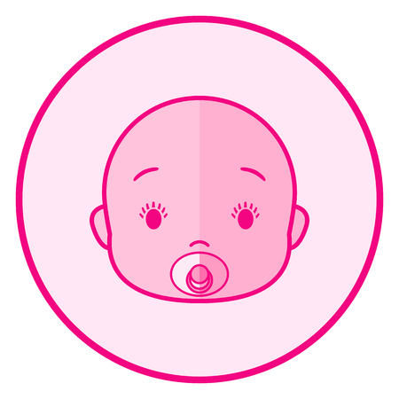 Baby face. Pink baby icon on a white background, line art vector design.