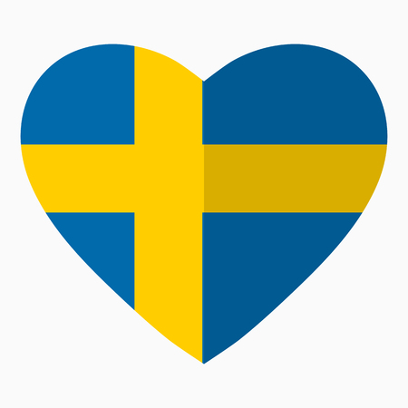 Flag of Sweden in the shape of Heart, flat style, symbol of love for his country, patriotism, icon for Independence Day.