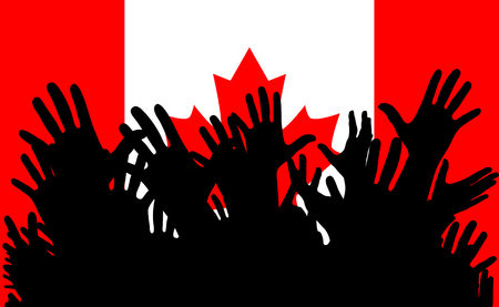 Hands up silhouettes on a Canada flag. Crowd of fans of soccer, games, cheerful people at a party.