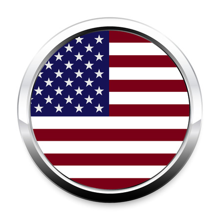 Button Flag of America in a round metal chrome frame with a shadow. The symbol of Independence Day, a souvenir, a button for switching the language on the site, an icon.