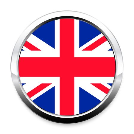 Button Flag of Great Britain in a round metal chrome frame with a shadow. The symbol of Independence Day, a souvenir, a button for switching the language on the site, an icon.