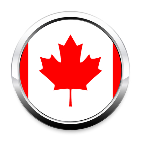 Button Flag of Canada in a round metal chrome frame with a shadow. The symbol of Independence Day, a souvenir, a button for switching the language on the site, an icon.