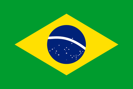 Flag of Brazil. Symbol of Independence Day, souvenir soccer game, button language, icon. Ilustração