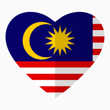Flag of Malaysia in the shape of Heart, flat style, symbol of love for his country, patriotism, icon for Independence Day.