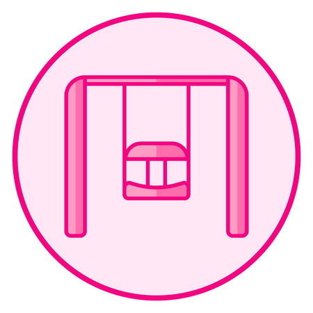 Swing. Pink baby icon on a white background, line art vector design. Illustration