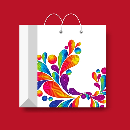 Shopping paper bag, vector marketing symbol isolated on a red background. Иллюстрация