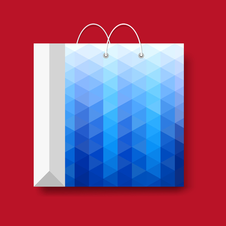 Shopping paper bag. Vector marketing symbol isolated on a red background. 矢量图像