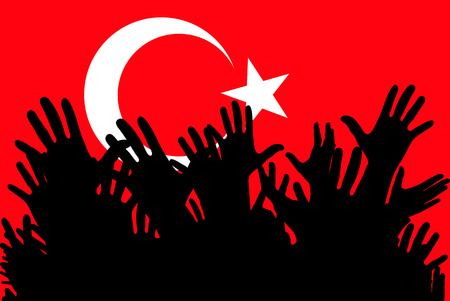 Hands up silhouettes on a Turkey flag.