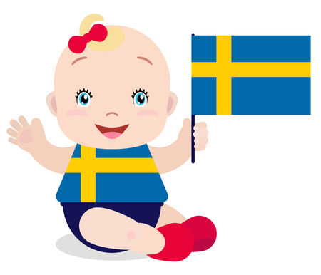 Smiling baby toddler, girl holding a Sweden flag isolated on white background. Vector cartoon mascot. Illustration