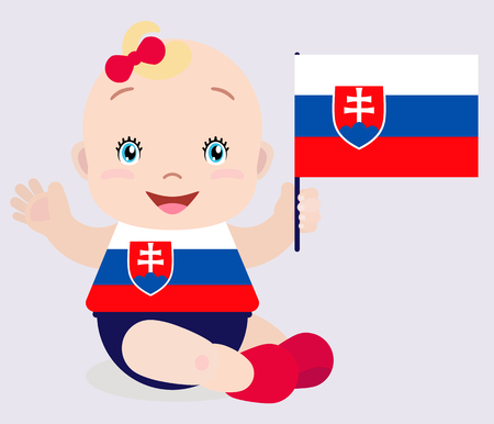 Smiling baby toddler, girl holding a Slovakia flag isolated on white background. Vector cartoon mascot. Illustration