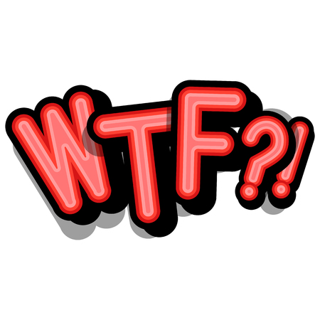 WTF - retro lettering with shadows on a white background. Vector bright illustration in vintage pop art style.