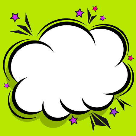 Retro comic design cloud. Flash explosion speech bubbles. Pop art vector elements.
