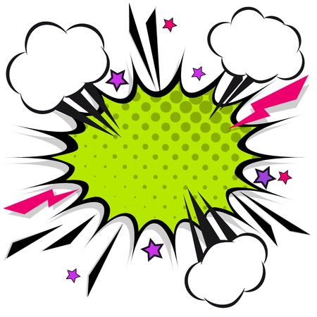 Retro comic design speech bubbles. Flash explosion with clouds, lightning, stars. Pop art vector elements. Stock Illustratie