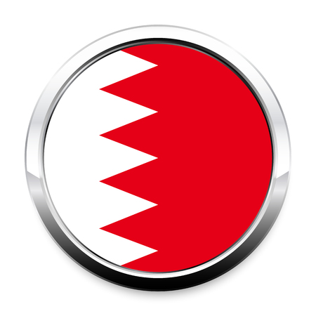 A Flag of Bahrain in a round metal chrome frame with a shadow. The symbol of Independence Day, a souvenir, a button for switching the language on the site, an icon. Vectores