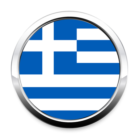 A Flag of Greece in a round metal chrome frame with a shadow. The symbol of Independence Day, a souvenir, a button for switching the language on the site, an icon.