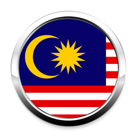 A Flag of Malaysia in a round metal chrome frame with a shadow. The symbol of Independence Day, a souvenir, a button for switching the language on the site, an icon.