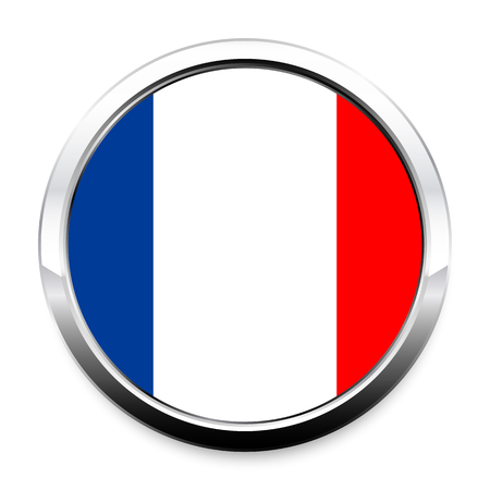 Flag of France in a round metal chrome frame with a shadow. The symbol of Independence Day, a souvenir, a button for switching the language on the site, an icon.