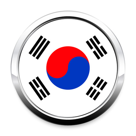 Flag of South Korea in a round metal chrome frame with a shadow. The symbol of Independence Day, a souvenir, a button for switching the language on the site, an icon.