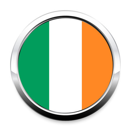 Flag of Ireland in a round metal chrome frame with a shadow. The symbol of Independence Day, a souvenir, a button for switching the language on the site, an icon. Vectores