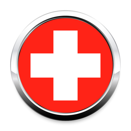 Flag of Switzerland in a round metal chrome frame with a shadow. The symbol of Independence Day, a souvenir, a button for switching the language on the site, an icon.