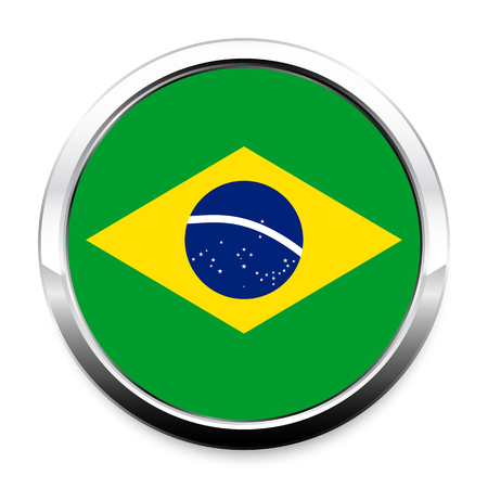 Button Flag of Brazil in a round metal chrome frame with a shadow. The symbol of Independence Day, a souvenir, a button for switching the language on the site, an icon.