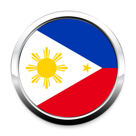 Button Flag of Philippines in a round metal chrome frame with a shadow. The symbol of Independence Day, a souvenir, a button for switching the language on the site, an icon.