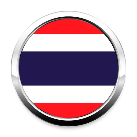 Button Flag of Thailand in a round metal chrome frame with a shadow. The symbol of Independence Day, a souvenir, a button for switching the language on the site, an icon. Vectores