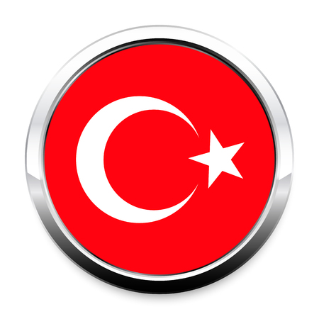 Button Flag of Turkey in a round metal chrome frame with a shadow. The symbol of Independence Day, a souvenir, a button for switching the language on the site, an icon.