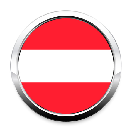 Button Flag of Austria in a round metal chrome frame with a shadow. The symbol of Independence Day, a souvenir, a button for switching the language on the site, an icon.