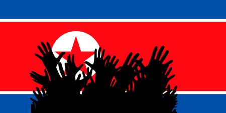 Hands up silhouettes on a North Korea flag. Crowd of fans of soccer, games, cheerful people at a party. Vector banner, card, poster. Vectores
