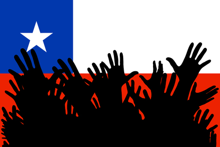 Hands up silhouettes on a Chile flag. Crowd of fans of soccer, games, cheerful people at a party. Vector banner, card, poster.