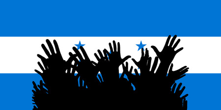 Hands up silhouettes on a Honduras flag. Crowd of fans of soccer, games, cheerful people at a party. Vector banner, card, poster.