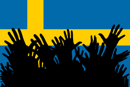 Hands up silhouettes on a Sweden flag. Crowd of fans of soccer, games, cheerful people at a party. Vector banner, card, poster. Vectores
