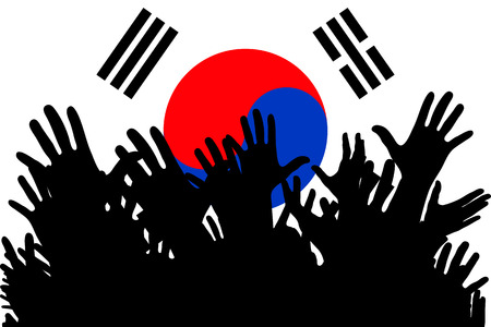 Hands up silhouettes on a South Korea flag. Crowd of fans of soccer, games, cheerful people at a party. Vector banner, card, poster. Vectores
