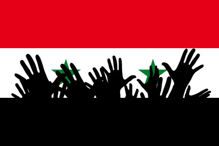Hands up silhouettes on a Syria flag. Crowd of fans of soccer, games, cheerful people at a party. Vector banner, card, poster. Vectores