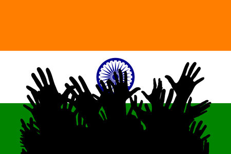Hands up silhouettes on a India flag. Crowd of fans of soccer, games, cheerful people at a party. Vector banner, card, poster.