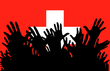 Hands up silhouettes on a Switzerland flag. Crowd of fans of soccer, games, cheerful people at a party. Vector banner, card, poster.