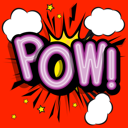 POW - retro lettering with shadows, halftone pattern on retro poster  background. Vector bright illustration in vintage pop art style.