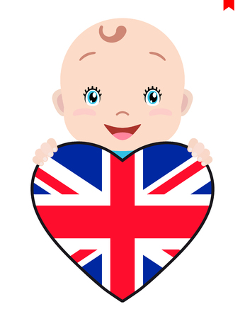 Smiling face of a child, a baby and a Great Britain flag in the shape of a heart. Symbol of patriotism, independence, travel, emblem of love.
