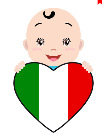Smiling face of a baby holding an Italy flag in the shape of a heart.