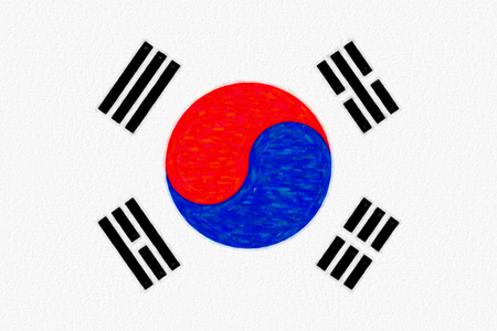 Watercolor flag of South Korea, paper texture. Symbol of Independence Day, souvenir soccer game, button language, icon. Stock Photo