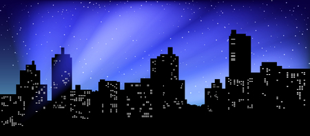 Black silhouette of cityscape. The beams of searchlights in the night sky.