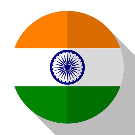 Flag India - round flatstyle button with a shadow.