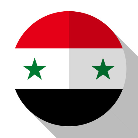 Flag Syria - round flatstyle button with a shadow.