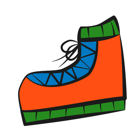 Boot, icon, children's drawing style.
