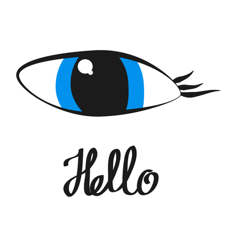 Eye, icon, children's drawing style.