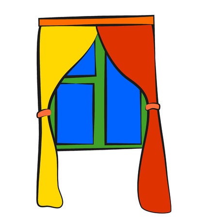 Window curtains, icon, children's drawing style.