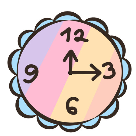 Wall clocks, icon, children's drawing style.